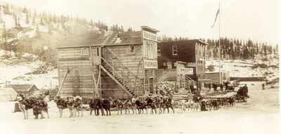 50 dogs pulling a sled in downtown Chitina